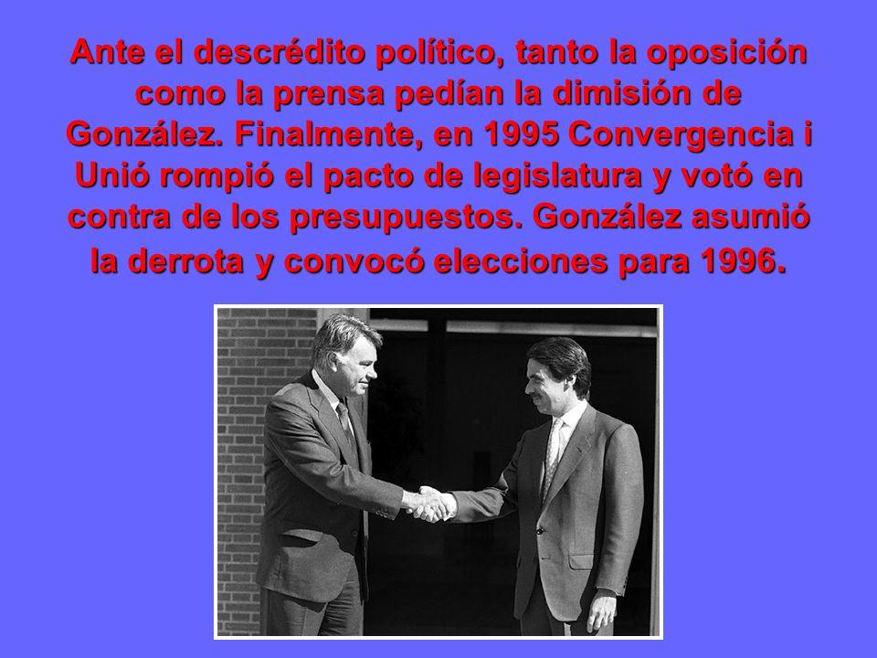 Ante el descrédito político, tanto la oposición como la prensa pedían la dimisión de González.