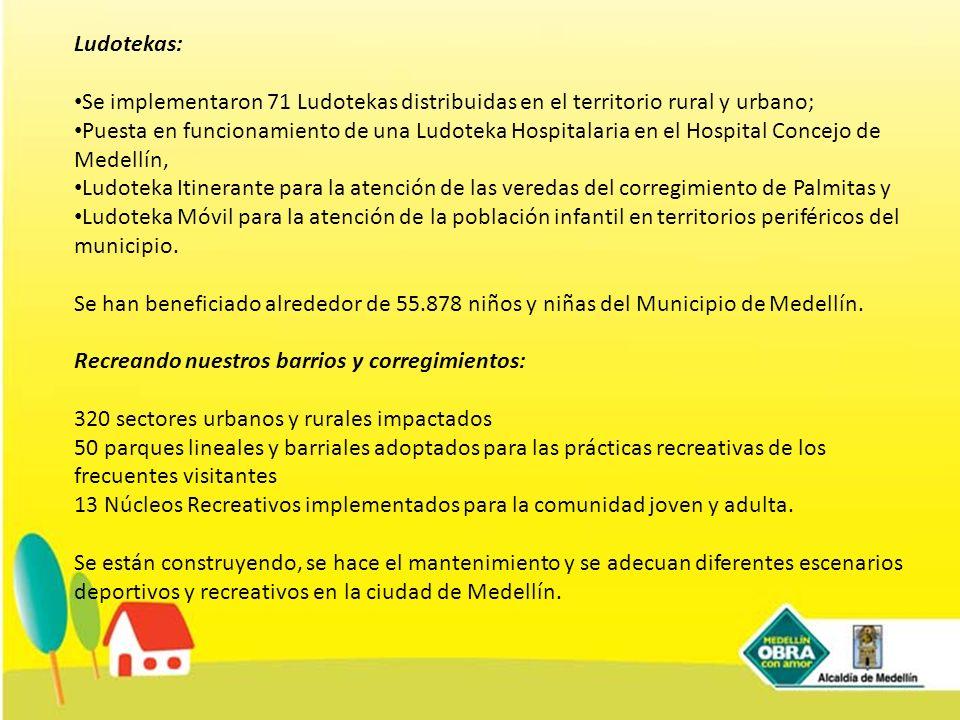 Ludotekas: Se implementaron 71 Ludotekas distribuidas en el territorio rural y urbano;
