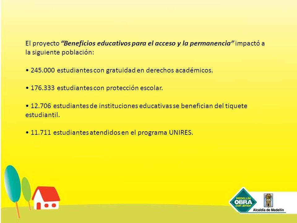 El proyecto Beneficios educativos para el acceso y la permanencia impactó a la siguiente población: