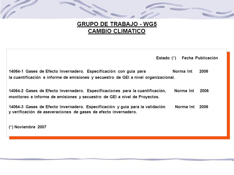 GRUPO DE TRABAJO - WG5 CAMBIO CLIMATICO