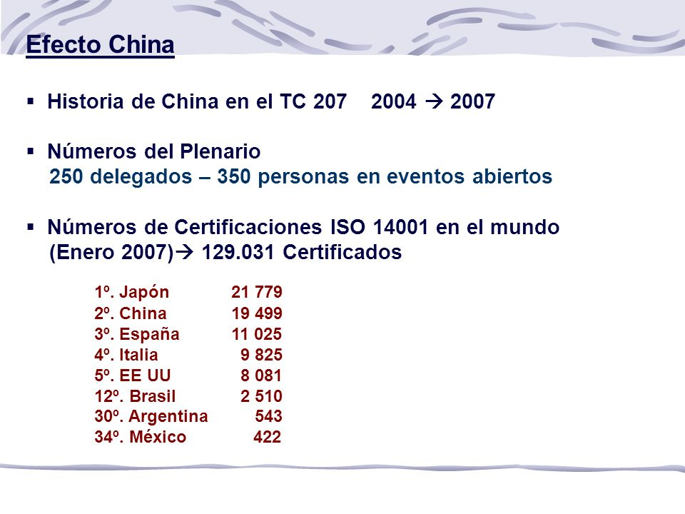 Efecto China Historia de China en el TC 207 2004  2007