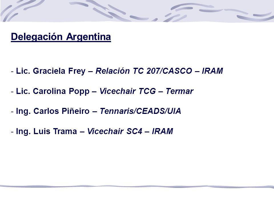 Delegación Argentina Lic. Graciela Frey – Relación TC 207/CASCO – IRAM