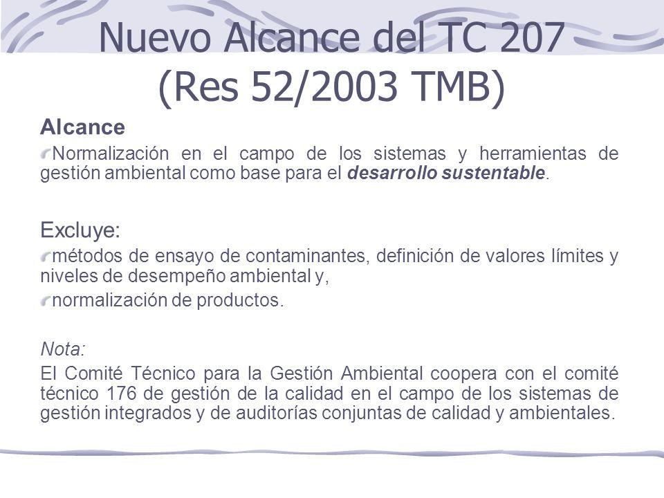 Nuevo Alcance del TC 207 (Res 52/2003 TMB)
