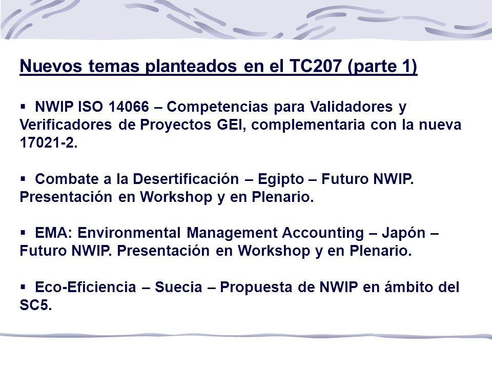 Nuevos temas planteados en el TC207 (parte 1)