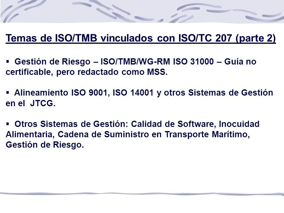 Temas de ISO/TMB vinculados con ISO/TC 207 (parte 2)