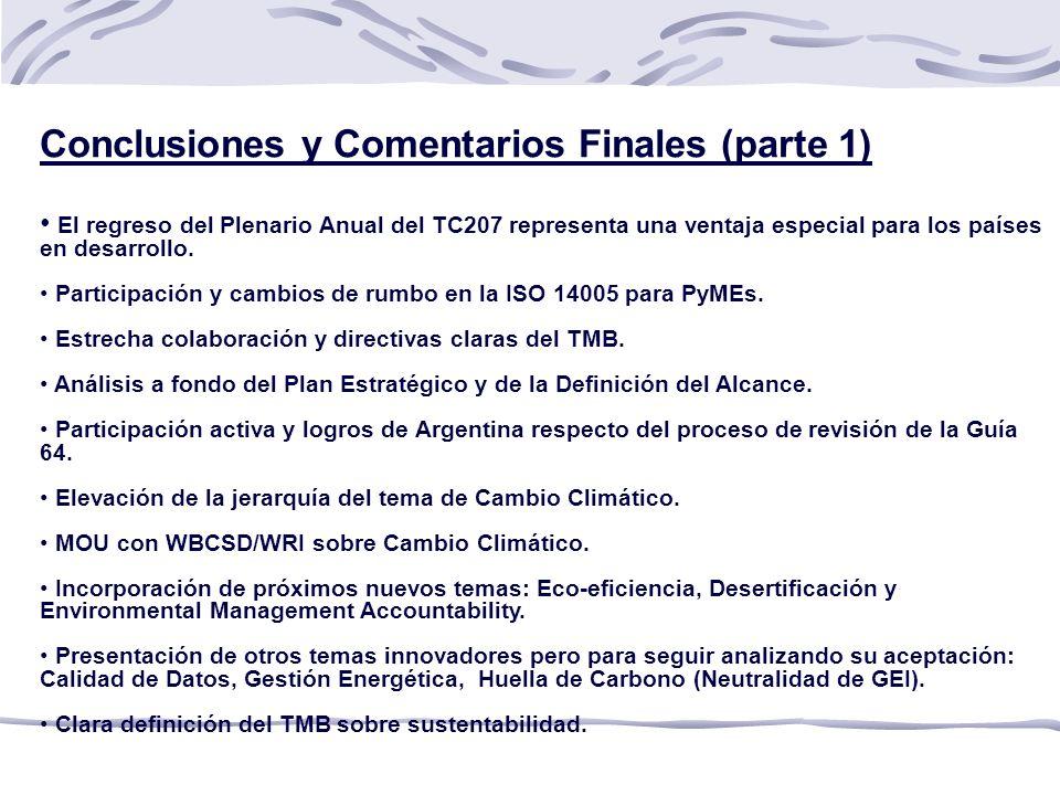 Conclusiones y Comentarios Finales (parte 1)