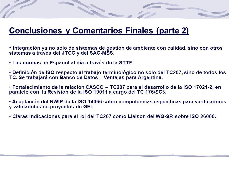 Conclusiones y Comentarios Finales (parte 2)