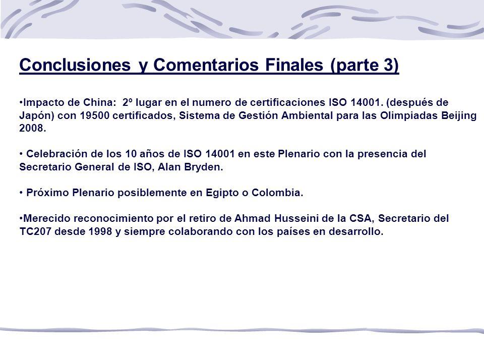 Conclusiones y Comentarios Finales (parte 3)