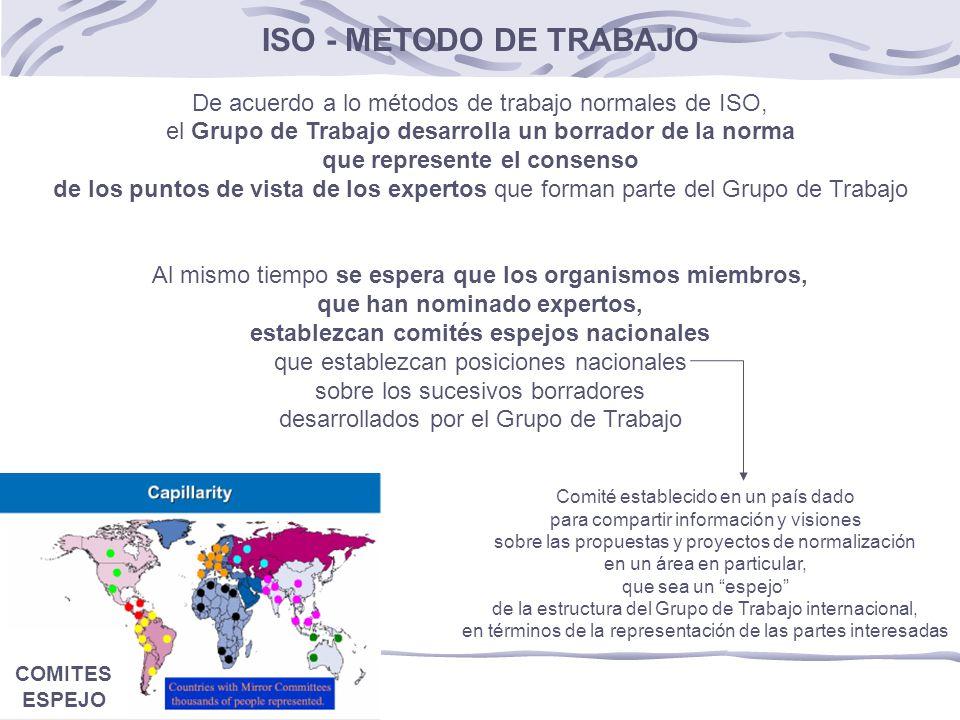 ISO - METODO DE TRABAJO De acuerdo a lo métodos de trabajo normales de ISO, el Grupo de Trabajo desarrolla un borrador de la norma.