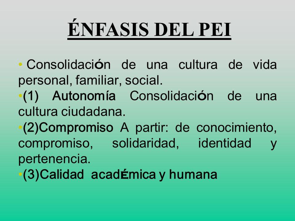 ÉNFASIS DEL PEI Consolidación de una cultura de vida personal, familiar, social. (1) Autonomía Consolidación de una cultura ciudadana.