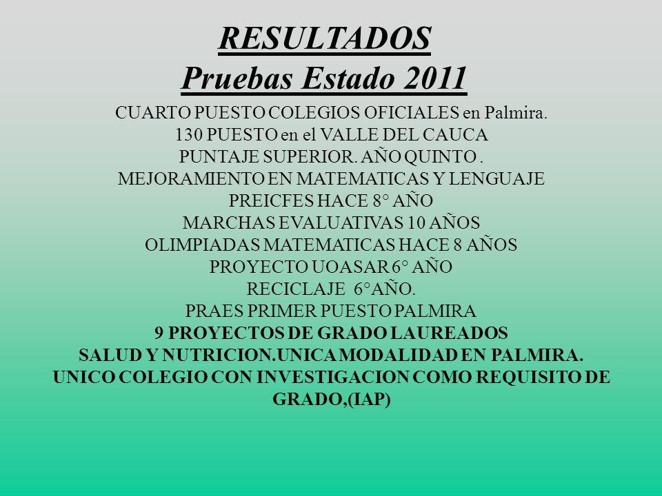 RESULTADOS Pruebas Estado 2011