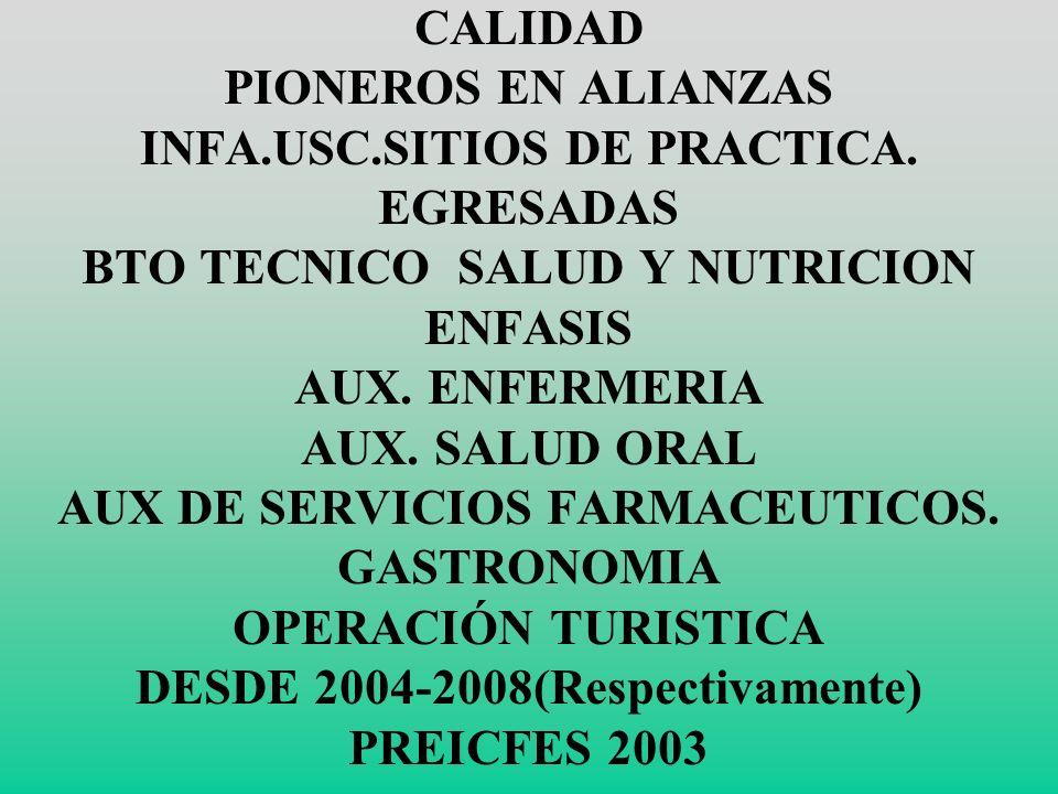 CALIDAD PIONEROS EN ALIANZAS INFA. USC. SITIOS DE PRACTICA
