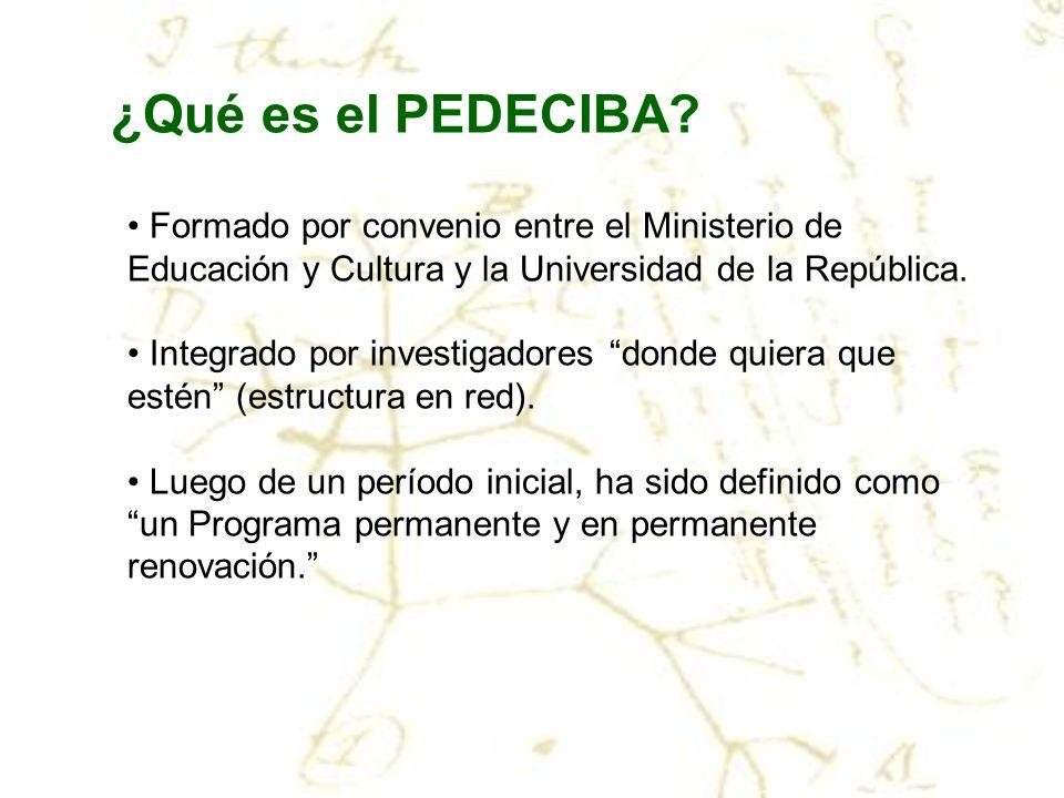 ¿Qué es el PEDECIBA Formado por convenio entre el Ministerio de Educación y Cultura y la Universidad de la República.