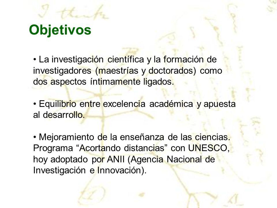 ObjetivosLa investigación científica y la formación de investigadores (maestrías y doctorados) como dos aspectos íntimamente ligados.