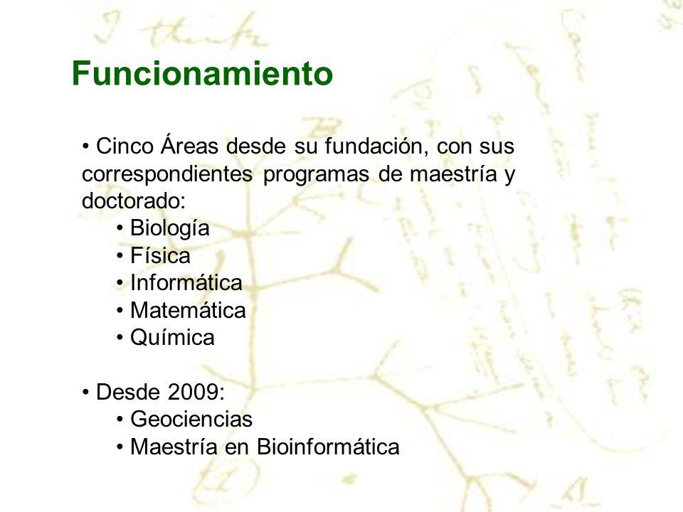 Funcionamiento Cinco Áreas desde su fundación, con sus correspondientes programas de maestría y doctorado: