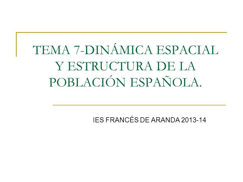 TEMA 7-DINÁMICA ESPACIAL Y ESTRUCTURA DE LA POBLACIÓN ESPAÑOLA.