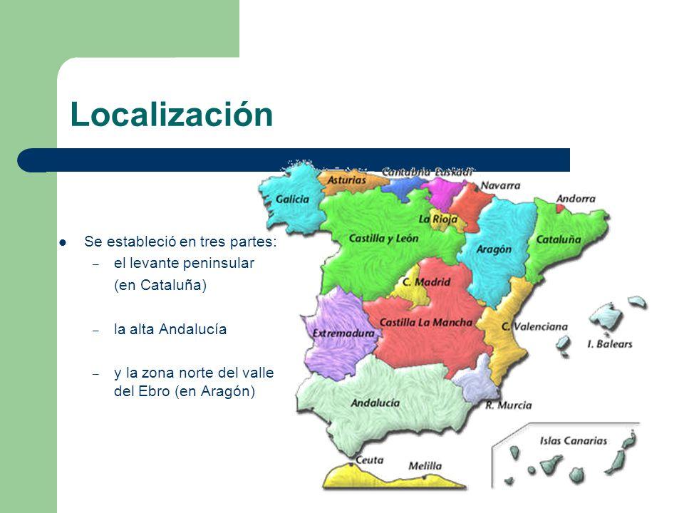 Localización Se estableció en tres partes: el levante peninsular