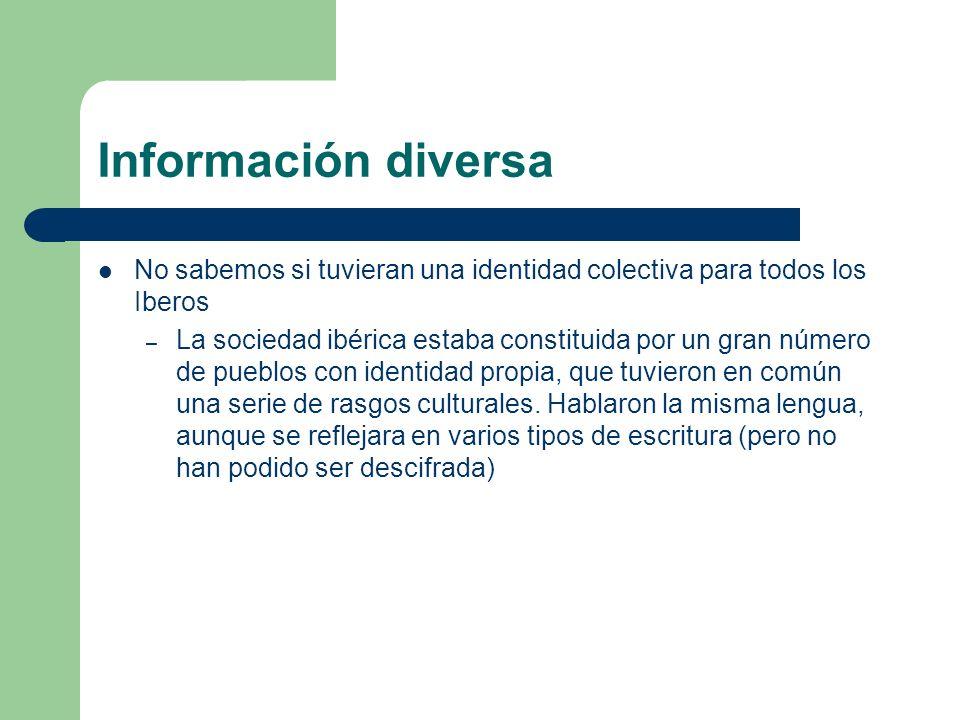 Información diversa No sabemos si tuvieran una identidad colectiva para todos los Iberos.