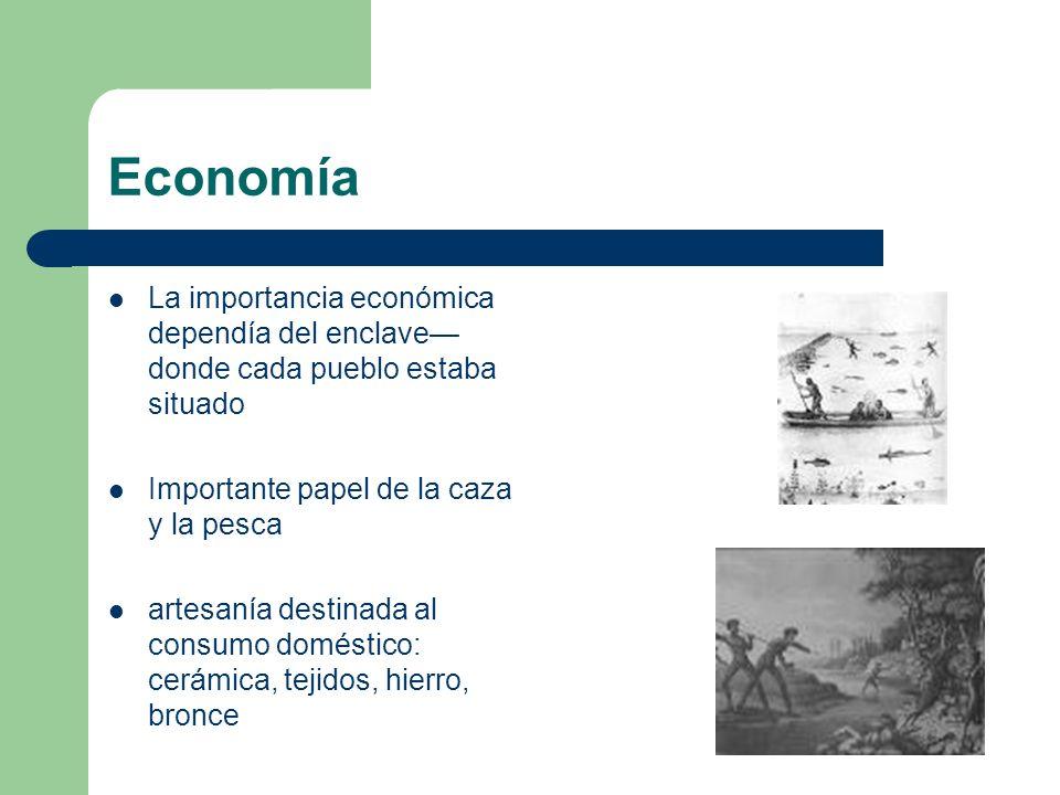 Economía La importancia económica dependía del enclave—donde cada pueblo estaba situado. Importante papel de la caza y la pesca.