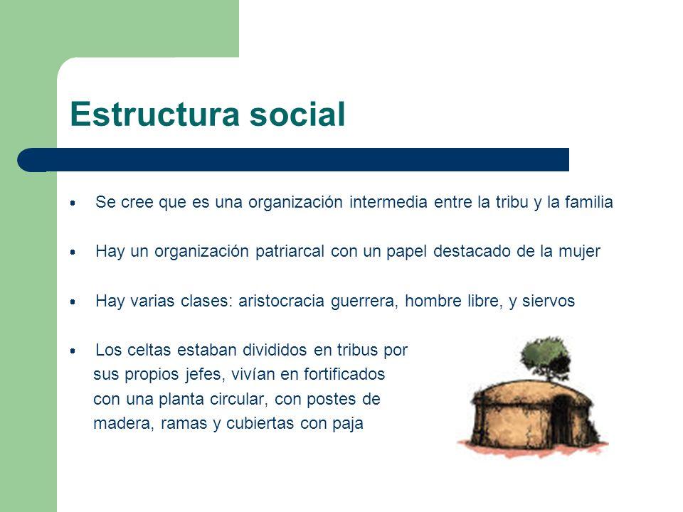 Estructura social Se cree que es una organización intermedia entre la tribu y la familia.