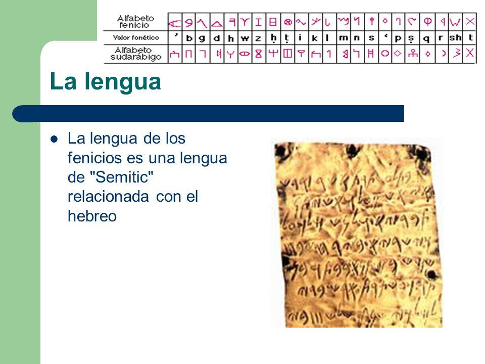 La lengua La lengua de los fenicios es una lengua de Semitic relacionada con el hebreo