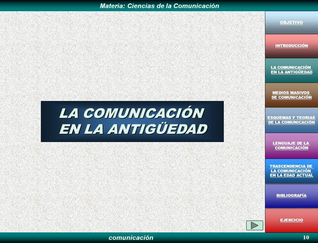 LA COMUNICACIÓN EN LA ANTIGÜEDAD 10 OBJETIVO INTRODUCCIÓN