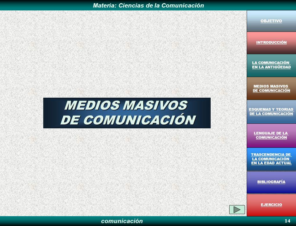 MEDIOS MASIVOS DE COMUNICACIÓN 14 OBJETIVO INTRODUCCIÓN