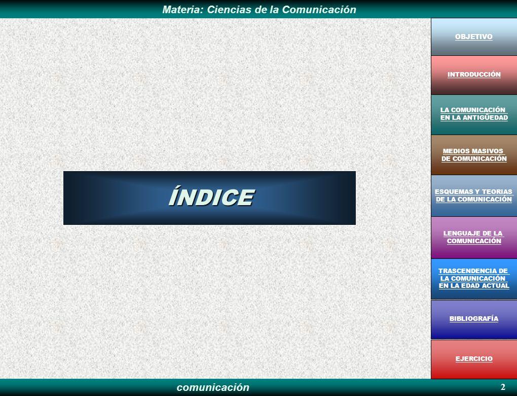 ÍNDICE 2 OBJETIVO INTRODUCCIÓN LA COMUNICACIÓN EN LA ANTIGÜEDAD