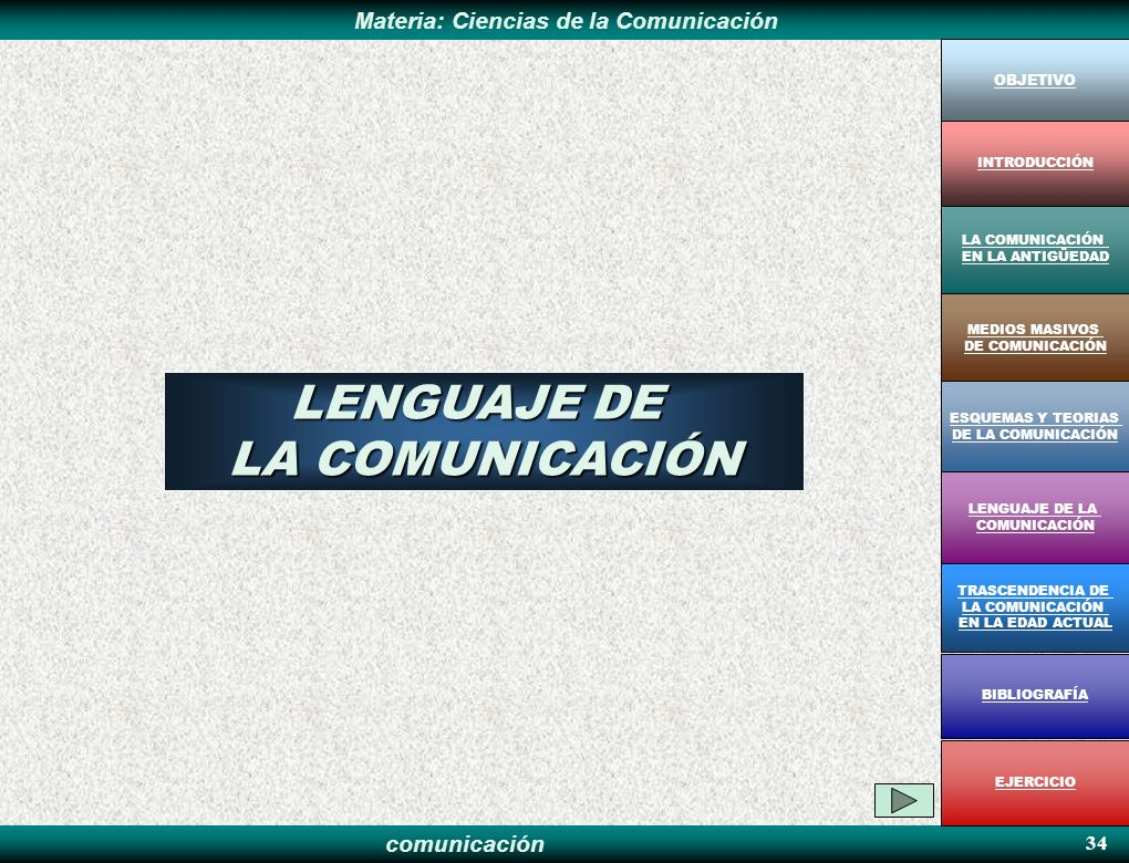 LENGUAJE DE LA COMUNICACIÓN 34 OBJETIVO INTRODUCCIÓN LA COMUNICACIÓN