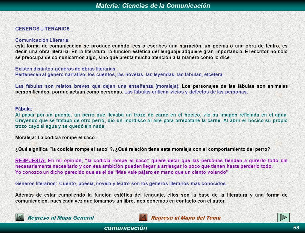 53 GENEROS LITERARIOS Comunicación Literaria: