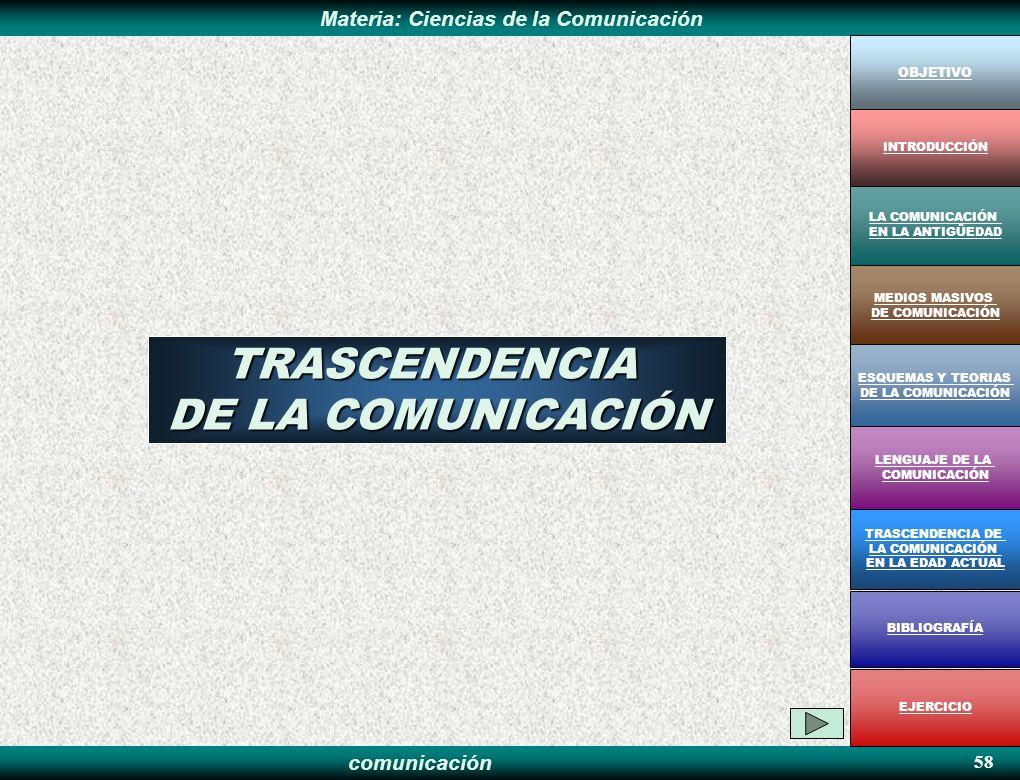 TRASCENDENCIA DE LA COMUNICACIÓN 58 OBJETIVO INTRODUCCIÓN