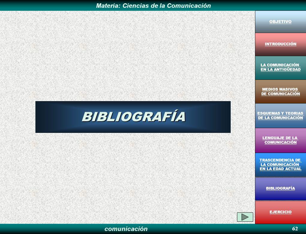 BIBLIOGRAFÍA 62 OBJETIVO INTRODUCCIÓN LA COMUNICACIÓN EN LA ANTIGÜEDAD