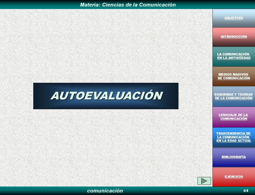AUTOEVALUACIÓN 64 OBJETIVO INTRODUCCIÓN LA COMUNICACIÓN