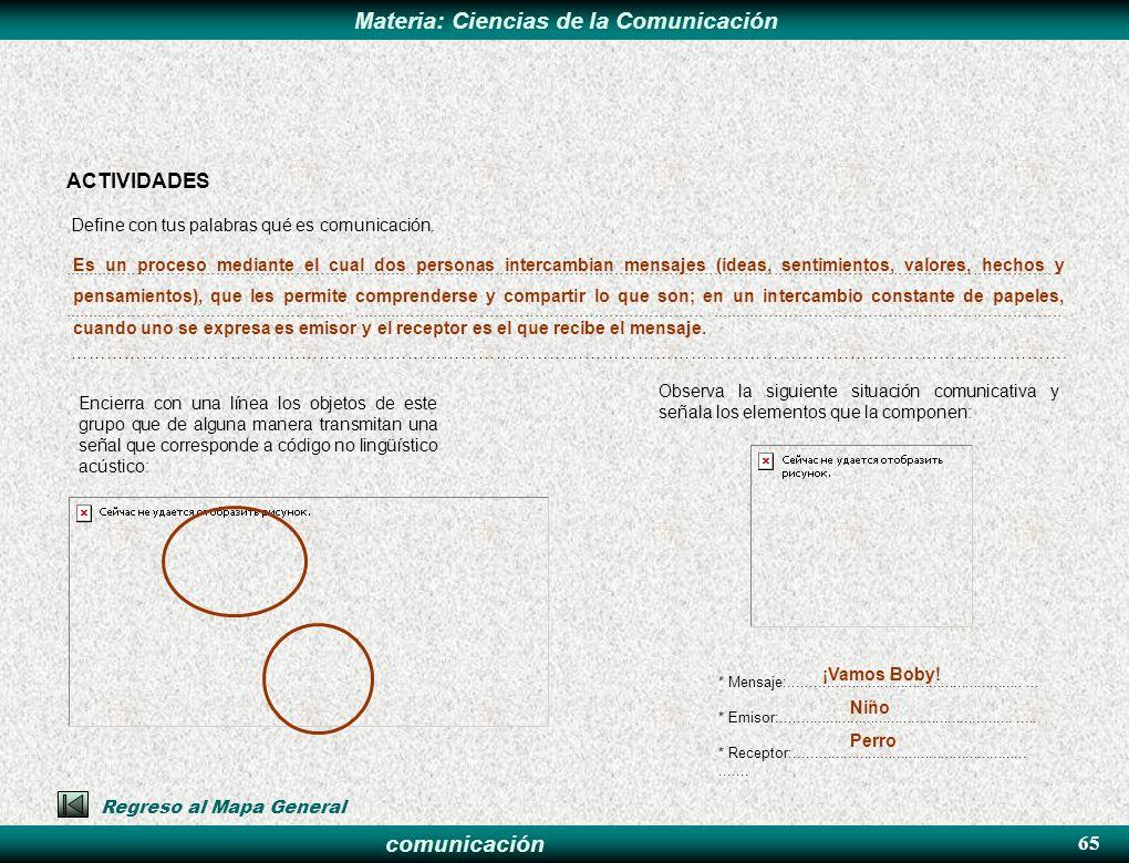 ACTIVIDADES 65 Define con tus palabras qué es comunicación.