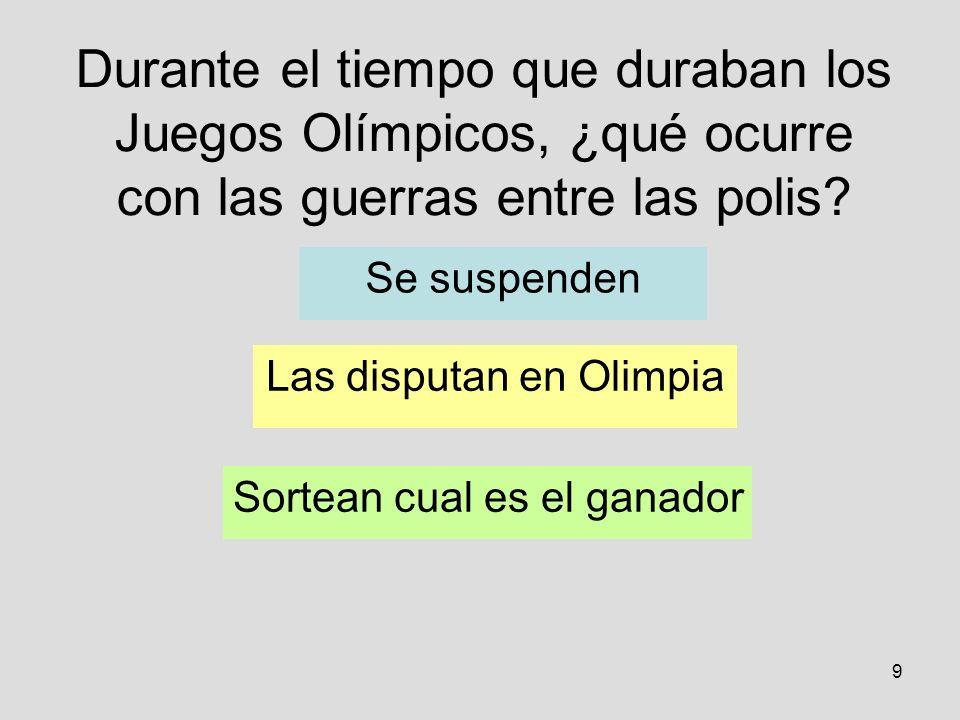 Durante el tiempo que duraban los Juegos Olímpicos, ¿qué ocurre con las guerras entre las polis