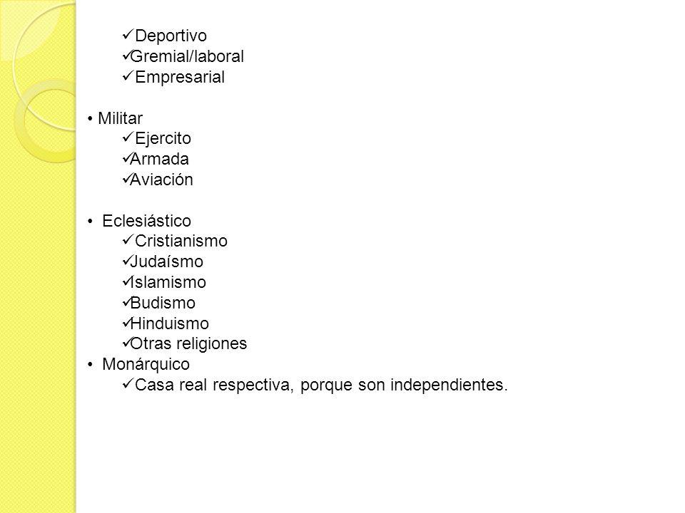 Deportivo Gremial/laboral. Empresarial. Militar. Ejercito. Armada. Aviación. Eclesiástico. Cristianismo.