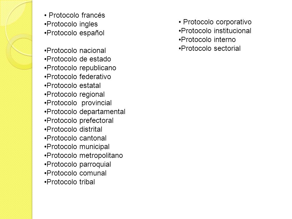 Protocolo francés Protocolo ingles. Protocolo español. Protocolo nacional. Protocolo de estado. Protocolo republicano.
