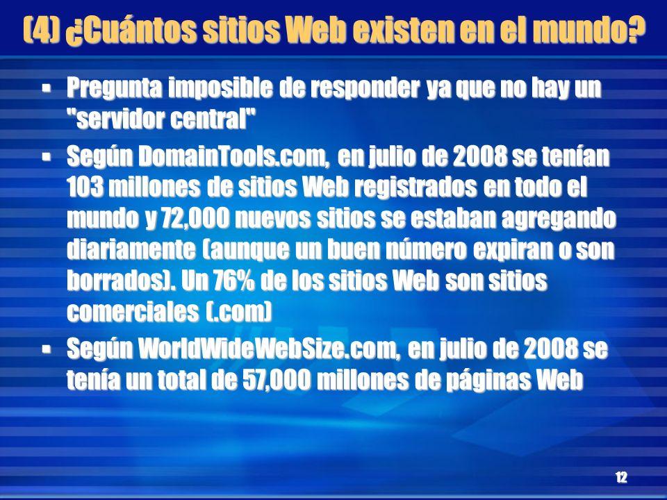 (4) ¿Cuántos sitios Web existen en el mundo