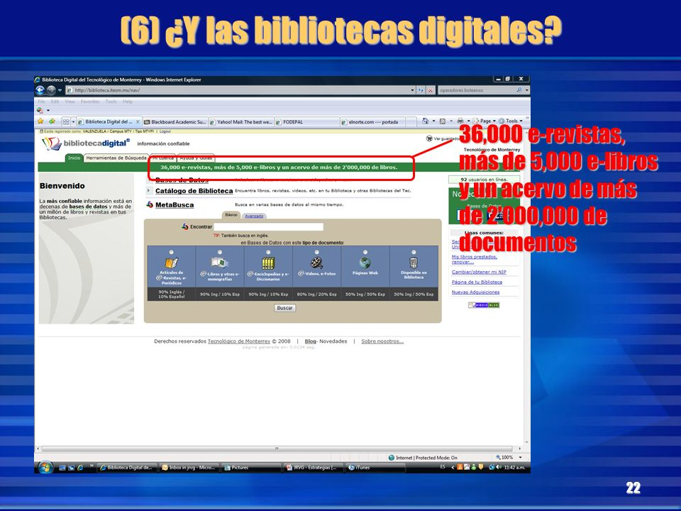 (6) ¿Y las bibliotecas digitales