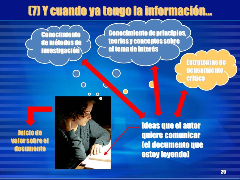 (7) Y cuando ya tengo la información...