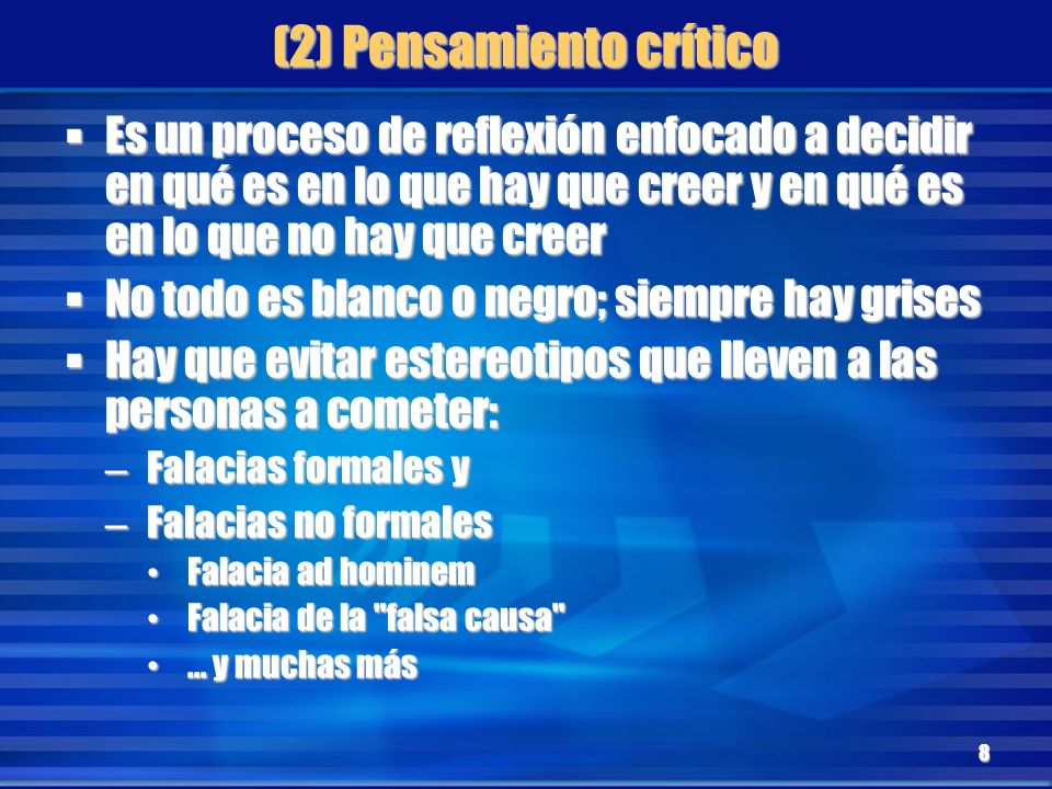 (2) Pensamiento crítico