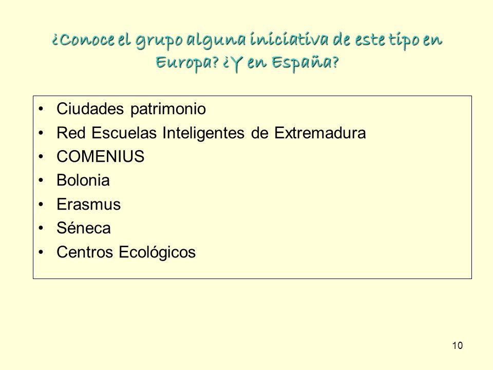 ¿Conoce el grupo alguna iniciativa de este tipo en Europa ¿Y en España