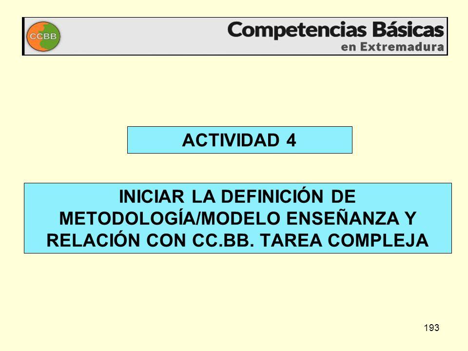 ACTIVIDAD 4 INICIAR LA DEFINICIÓN DE METODOLOGÍA/MODELO ENSEÑANZA Y RELACIÓN CON CC.BB.