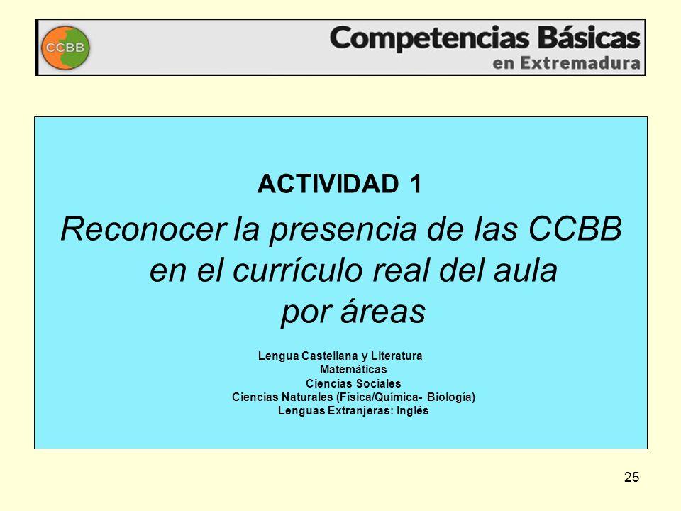 ACTIVIDAD 1 Reconocer la presencia de las CCBB en el currículo real del aula por áreas.
