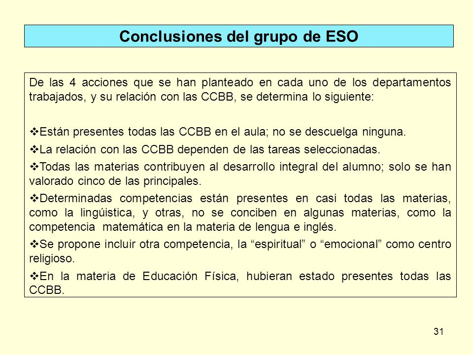 Conclusiones del grupo de ESO