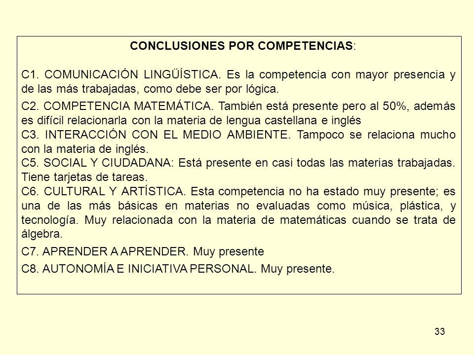 CONCLUSIONES POR COMPETENCIAS: