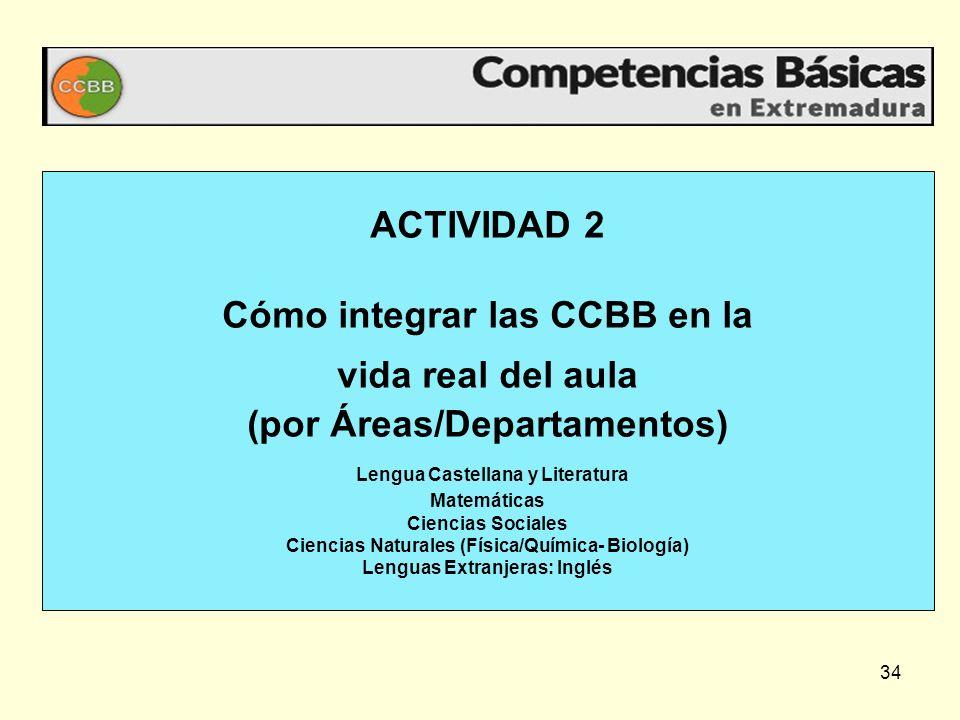 ACTIVIDAD 2 Cómo integrar las CCBB en la vida real del aula (por Áreas/Departamentos) Lengua Castellana y Literatura Matemáticas Ciencias Sociales Ciencias Naturales (Física/Química- Biología) Lenguas Extranjeras: Inglés