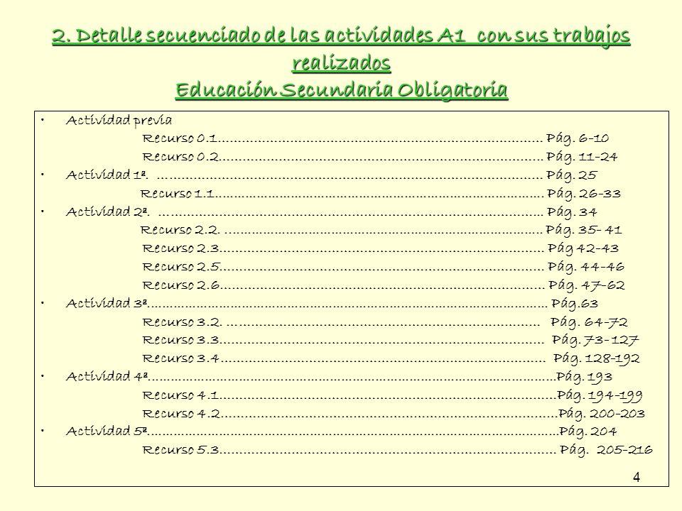 2. Detalle secuenciado de las actividades A1 con sus trabajos realizados Educación Secundaria Obligatoria