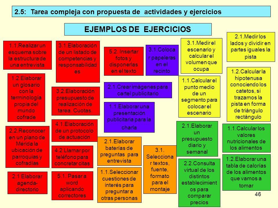 2.5: Tarea compleja con propuesta de actividades y ejercicios