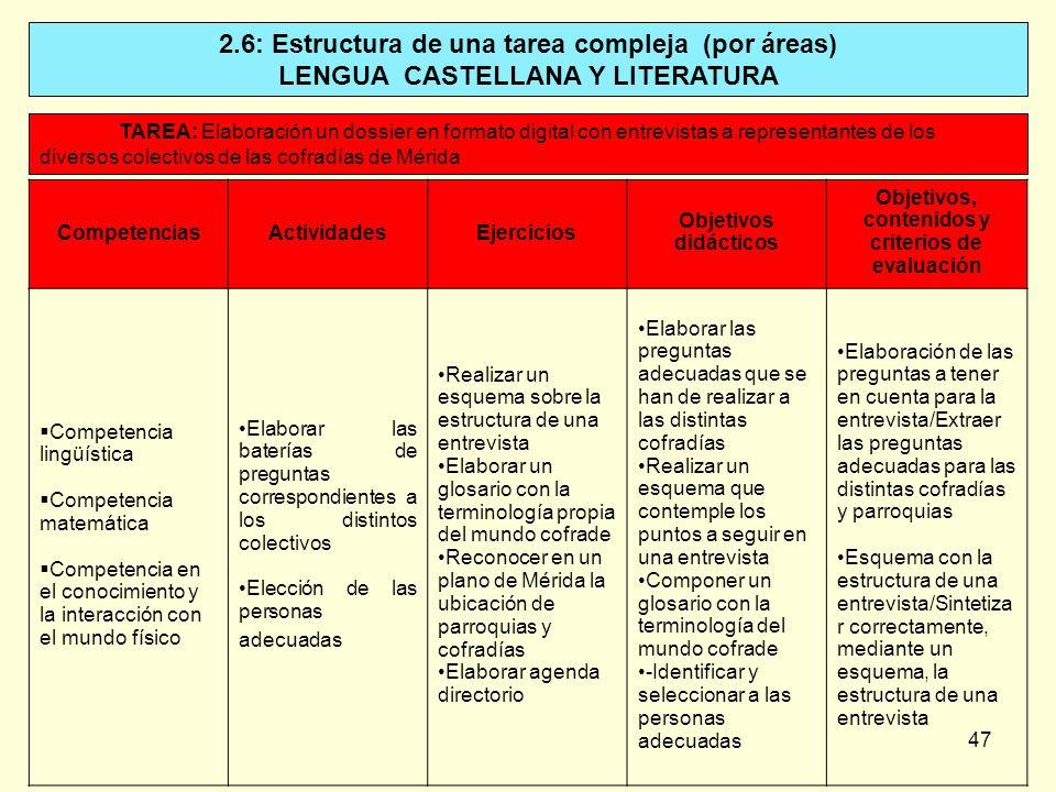 2.6: Estructura de una tarea compleja (por áreas)